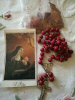 Rosario Santa Rita  santino supplica con petali Del giardino