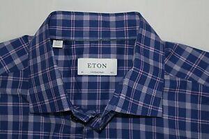 ETON CONTEMPORARY 42 / 16.5 Blue Purple Plaid FINE TWILL Cotton Dress Shirt