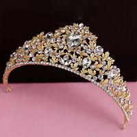 6cm High Gold Leaf Drip Golden Crystal Adult Big Tiara Crown Wedding Prom Party