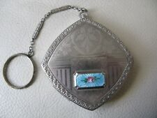 Antique Silver T Blue Guilloche Enamel Engraved Floral Finger Ring Purse Compact