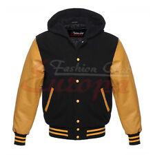 BLACK Varsity  Men Wool hoodie yellow Genuine Leather Sleeve Letterman Jacket