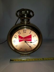 Rare Lighted Budweiser Beer Electric Pocket Watch Style Clock VINTAGE Breweriana