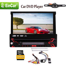 """7"""" Single 1 Din Car Stereo CD DVD Player Bluetooth Radio Aux In +Rear Camera&Map"""