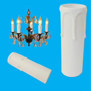12x White Drip Candle Sleeve Wax Effect Chandelier Light Bulb Cover 90mm x 27mm