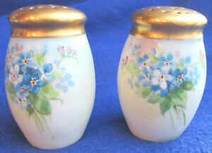 "Handpainted 2 7/8"" High ""Bavaria"" Salt & Pepper With Gold Painted Tops"
