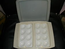 Tupperware Deviled Egg Containers Holders Carrier Tray vtg ALmond