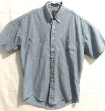 Vintage Chaps Ralph Lauren Denim Chambray Button Down Short Sleeve Crest Shirt M