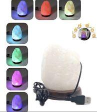 Mini lampe de sel naturelle fait à la main 1kg,usb LED 7 couleurs sel blanc
