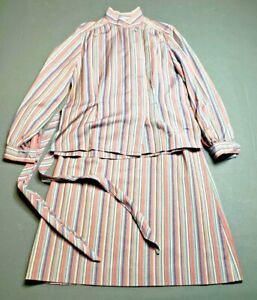 Vintage Pendleton Wool Skirt Suit 2 Piece Womens Striped 28 x 28 Chest 44 Inch