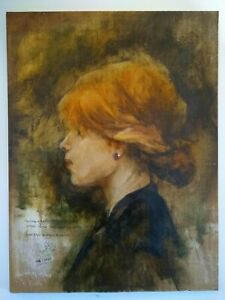 Original Artist Signed Copy of Toulouse Lautrec Young Woman with Red Hair