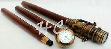 Antique Brass Hidden Telescope Vintage Cane With Clock Wooden Walking Stick Gift