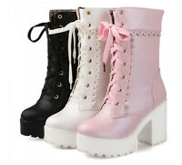 Lolita Sweet Womens Lace Up Platform Block High Heels Ankle Riding Boots Shoes