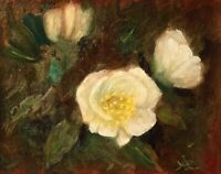Original Oil Painting by Anawanitia - White Roses Botanical Florals Still Life