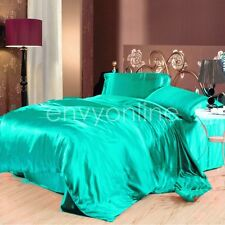 DELUXE SINGLE SIZE BED SATIN SOFT FITTED FLAT PILLOWCASE SHEET SET - Aqua Green