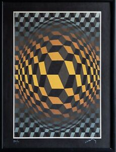 VICTOR VASARELY Signed & Numbered Modern OP ART Serigraph Screen Print Abstract