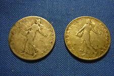(A325) 2 pièces de 50 centimes argent Semeuse 1902 et 1912