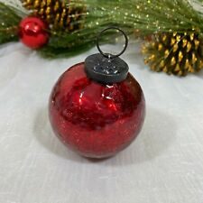 Sleigh Hill Kugel Vintage Style RED Mercury Crackled Glass Ball Ornaments SET 6
