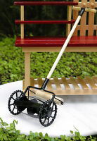 Miniature Dollhouse FAIRY GARDEN Accessories ~ Old-Fashioned Black Lawnmower