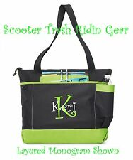 Personalized Tote bag book monogram Green NEW business Nurse Teacher