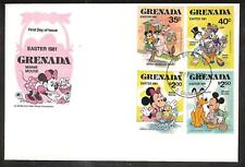 GRENADA # 1041-5 DISNEY MINNIE MOUSE EASTER FDC's
