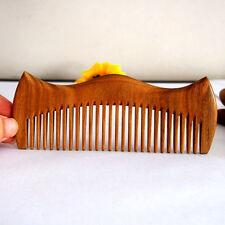green sandalwood hair comb handmande wood hair comb crown shape