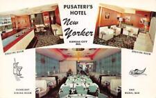 PUSATERI'S HOTEL NEW YORKER Kansas City, MO Esquire Room Interior 1950s Postcard
