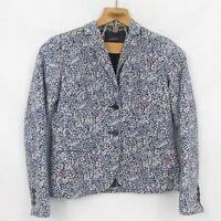 Talbots Blazer Jacket Women's Size 4 Navy Blue & Pink Floral lined Career 4