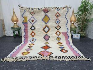 "Moroccan Handmade Beni Ourain Rug 5'2""x6'3"" Berber Geometric White Pink Carpet"