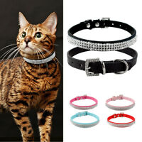 Soft PU Leather Dog Collar Bling Crystal Rhinestone Pet Cat Puppy Necklace XS-L