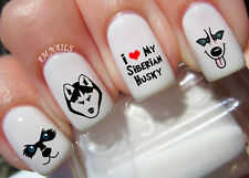 Siberian Husky Nail Art Stickers Transfers Decals Set of 54
