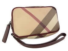 Auth BURBERRY Supernova Check Plaid Pattern PVC Pouch Bag Purse F/S 11204eRQ