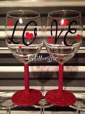 x5 LOVE & Hearts Valentine's Day Vinyl  Decal Sticker DIY Glitter Wine Glass
