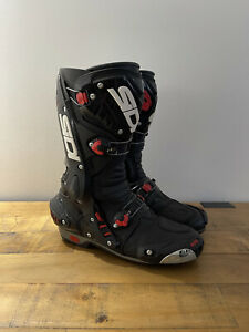 GORGEOUS SIDI VORTICE AIR Full Leather RACE Motorcycle Boots BLACK UK 8 / EU 42