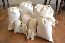 6 x 8 Inches Cotton Muslin Bag. Double Drawstring High Quality Bags. - Qty: 500