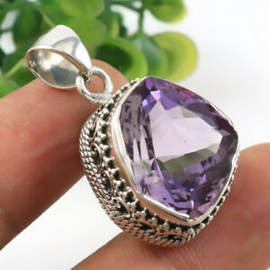 Natural AAA Faceted Amethyst 925 Sterling Silver Pendant Jewelry IN-1770