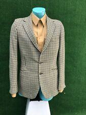 Vtg W. Bill Ltd. Bond Street London Sage Houndstooth Tweed Blazer Wool  Sz 39R