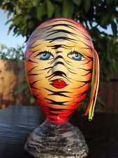 "Ceramic Self Standing Face Mask Glazed 6"" Mexico Day of The Dead Art Tiger Zebra"