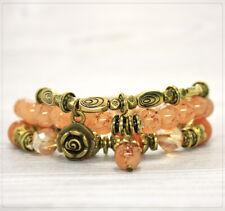 3er Set Damen Armband Damenschmuck dehnbar Perlen Glasperlen Metallperlen Peach