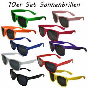 10 Stück Set Sonnenbrillen BUNT SOMMER schwarz 80er Nerd Style Brille Retro UV40