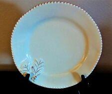 Home Handmade Italian Ceramic Large Dinner Plate Saw Tooth Edge Cream Brown Trim