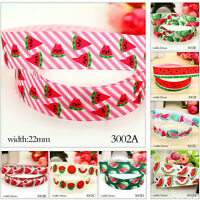 "5/10 Yards 7/8"" Watermelon Fruit Pattern Cute Grosgrain Ribbon Craft Decor 22mm"