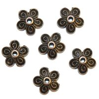 ML3158 Antiqued Copper 10mm 5-Petal Scalloped Filigree Flower Bead Caps 100pc