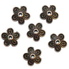 ML3158p Antiqued Copper 10mm 5-Petal Scalloped Filigree Flower Bead Caps 100/pkg