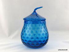 Empoli Azure Blue Bubble Optic Biscuit Jar / Cookie Jar with Lid
