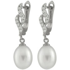 Sterling Silver rhodium plated earrings 7-8mm White freshwater pearls ESR-154