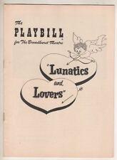 "Buddy Hackett   ""Lunatics and Lovers""    Playbill  1955  Jerome Cowan"