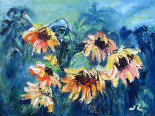 "Original Oil Painting  Sunflowers 12x16"" Julia Lu"