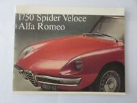 Vintage Alfa Romeo 1750 Spider Veloce Sales Brochure Catalog Advertising