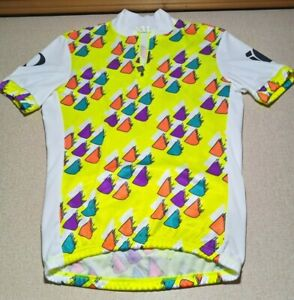 Vintage Yellow White Peal Izumi Technical Wear Cycling 3 Pocket Jersey Sz Small