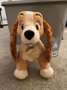 """NWT Authentic Disney Store Lady And The Tramp Dog 12"""" Plush Stuffed Animal Toy"""